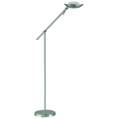 Modern Torchiere Lamp in Polished Steel Finish
