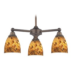 Mini-Chandelier with Brown Art Glass in Neuvelle Bronze Finish