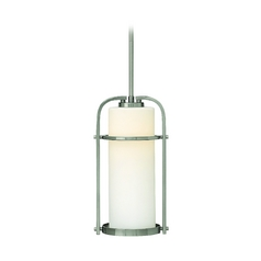 Mini-Pendant Light with White Glass in Brushed Nickel Finish