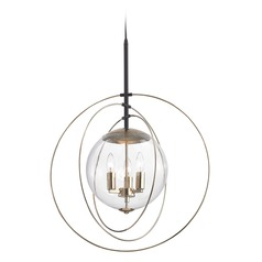 Elk Lighting Zonas Polished Gold, Oil Rubbed Bronze Pendant Light with Globe Shade