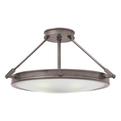 Industrial Antique Nickel LED Semi-Flushmount Light by Hinkley Lighting