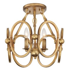 Metropolitan Lighting Clairpointe Pandora Gold Leaf Semi-Flushmount Light