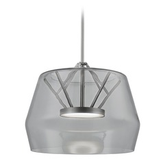 Art Deco Brushed Nickel LED Pendant with Smoked Shade 3000K 1550LM