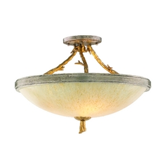 Semi-Flushmount Light with Beige / Cream Glass in Gold and Silver Leaf Finish