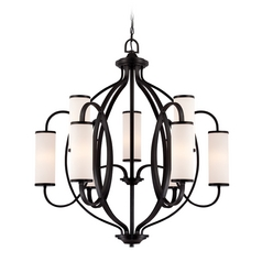 Modern Chandelier with White Glass in Artisan Finish