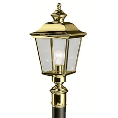 Kichler Post Light with Clear Glass in Polished Brass Finish