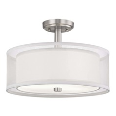 Double Organza Drum Ceiling Light Satin Nickel 16 Inches Wide 3 Lt