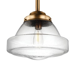 Schoolhouse Pendant Light Seeded Glass Brass 13.875-Inch Wide by Feiss Lighting