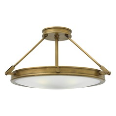 Industrial Brass LED Semi-Flushmount Light by Hinkley Lighting