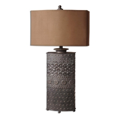 Table Lamp with Brown Shade in Olive Brown Finish