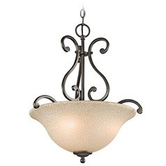 Kichler Pendant Light with White Scavo Glass in Olde Bronze Finish