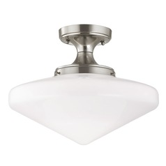 14-Inch Wide Schoolhouse Ceiling Light in Satin Nickel Finish