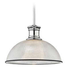 Industrial Pendant Light Prismatic Glass Black / Chrome 13.13-Inch Wide