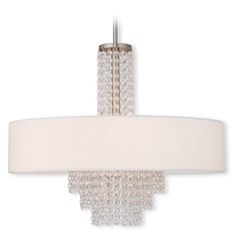 Livex Lighting Carlisle Brushed Nickel Pendant Light with Drum Shade