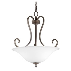 Quorum Lighting Celesta Oiled Bronze Pendant Light with Bowl / Dome Shade