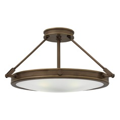 Industrial Light Oiled Bronze Semi-Flushmount Light by Hinkley Lighting