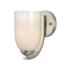 Modern Wall Sconce with Opal White Dome Glass in Satin Nickel Finish