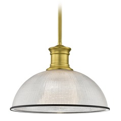 Farmhouse Pendant Light Prismatic Glass Black / Brass 13.13-Inch Wide