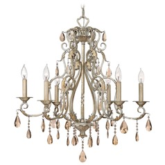 Crystal Chandelier in Silver Leaf Finish