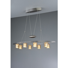 Holtkoetter Modern Low Voltage Pendant Light with Orange Glass in Satin Nickel Finish