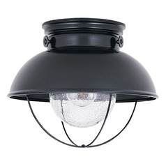 Marine / Nautical Seeded Water LED Close to Ceiling Light Black Sebring by Sea Gull Lighting