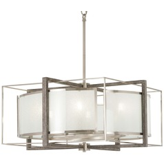 Minka Lavery Brushed Nickel with Shale Wood Pendant Light with Drum Shade