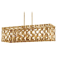 Coronade Pandora Gold Leaf Island Light with Rectangle Shade