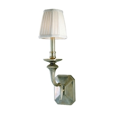 Sconce Wall Light with White Shade in Old Nickel Finish