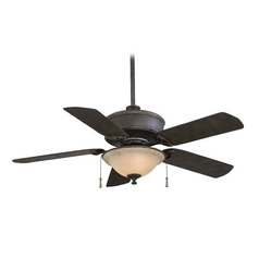 Ceiling Fan with Light in Black Iron / Brushed Nickel Accents Finish