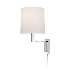 Modern Pin-Up Lamp with White Shade in Polished Chrome Finish
