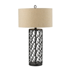 Table Lamp with Beige / Cream Shade in Oil Rubbed Bronze Finish