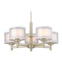 Double Organza Chandelier Satin Nickel 5 Lt