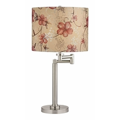 Design Classics Lighting Pauz Swing Arm Table Lamp with Floral Patterned Lamp Shade 1902-09 SH9512