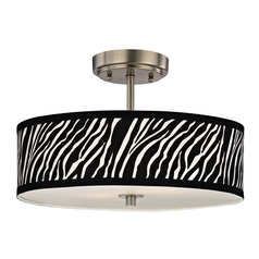 Zebra Ceiling Light with Drum Shade in Nickel Finish - 16-Inches Wide