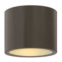 Modern Close To Ceiling Light with White Glass in Bronze Finish