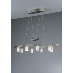 Holtkoetter Modern Low Voltage Pendant Light with Silver Glass in Satin Nickel Finish