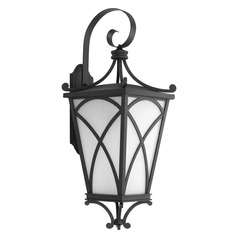Frosted Seeded Glass Outdoor Wall Light Black Progress Lighting