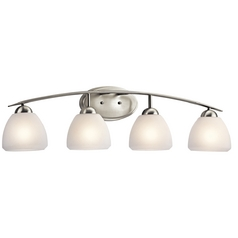 Kichler Bathroom Light with White Glass in Brushed Nickel Finish