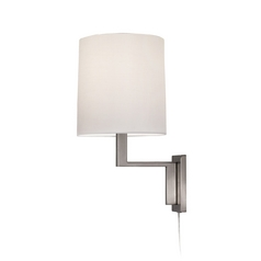 Sonneman Lighting Modern Pin-Up Lamp with White Shade in Satin Nickel Finish 6440.13