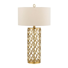 Table Lamp with Beige / Cream Shade in Satin Brass Finish