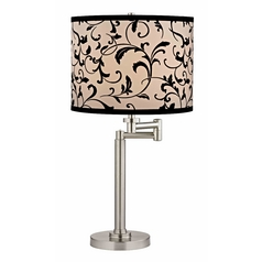 Swing Arm Table Lamp with Black Filigree Lamp Shade