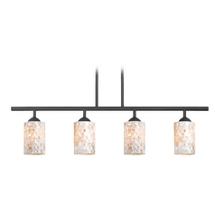 Linear Pendant Light with Mosaic Glass 4 Lt