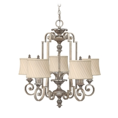 Chandelier with Beige / Cream Shades in Silver Leaf Finish