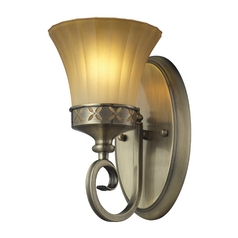 Sconce Wall Light with Amber Glass in Colonial Bronze Finish