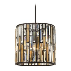 Frederick Ramond Gemma Vintage Bronze Pendant Light with Cylindrical Shade