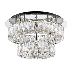 Crystal Chrome LED Semi-Flush Light with Clear Shade 4000K 1920LM