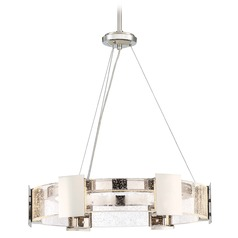 Stellaris Polished Nickel LED Pendant Light with Drum Shade 3000K 1194LM