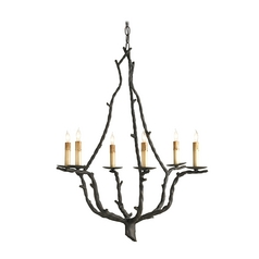 Currey & Co Chandelier in Rustic Bronze Finish