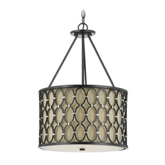 AF Lighting Oil Rubbed Bronze Pendant Light with Drum Shade