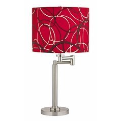 Swing Arm Table Lamp with Red and Grey Drum Shade